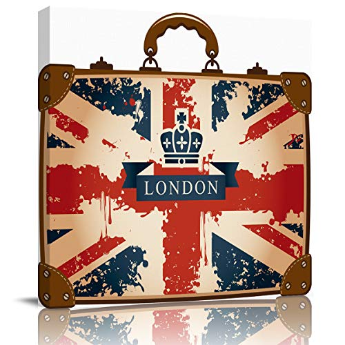 Modern Giclee Canvas Prints Stretched Artwork,London-Style Vintage Suitcase Pictures to Photo Paintings on Canvas Wall Art for Home Office Decorations Wall Decor,16 x 16 Inch]()