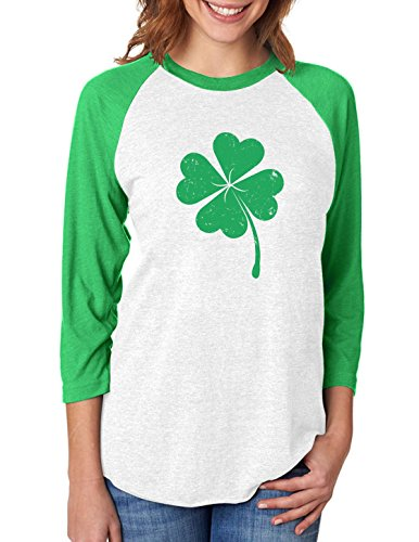 Clover - St Patrick's Day Irish Shamrock 3/4 Women Sleeve Baseball Jersey Shirt
