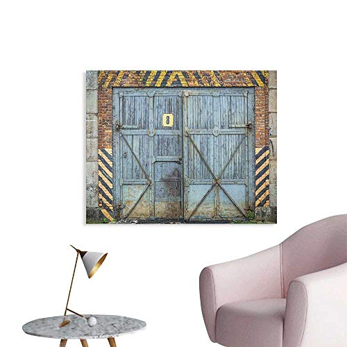 Anzhutwelve Industrial Wall Paper Old Wooden Factory Gate with Warning Signs Industrial Change Modern Techno Theme Cool Poster Multicolor W36 xL24