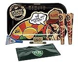 RAW Rolling Tray Small''RAW Brazil'' by JBatista, RAW Cone 1 1/4 (2 Packs), Ital Small Hemp Wick, Barracuda Cone Filler, with Leaf Lock Gear Spill Proof Pouch - 6 Item Bundle
