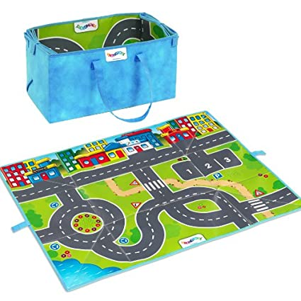 Viking Play Mat- Fun Road Design- 38.5 inches x 35 inches- Folds into Storage Tote Box- Two 5 inch Cars Included