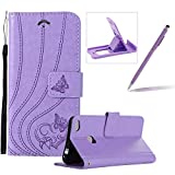 Strap Leather Case for Huawei P8 Lite 2017,Wallet Flip Case for Huawei P8 Lite 2017,Herzzer Premium Stylish Pretty Purple Love Heart Butterfly Pattern Bookstyle Magnetic Full Body Soft Rubber Stand Case with Card Holder Slots