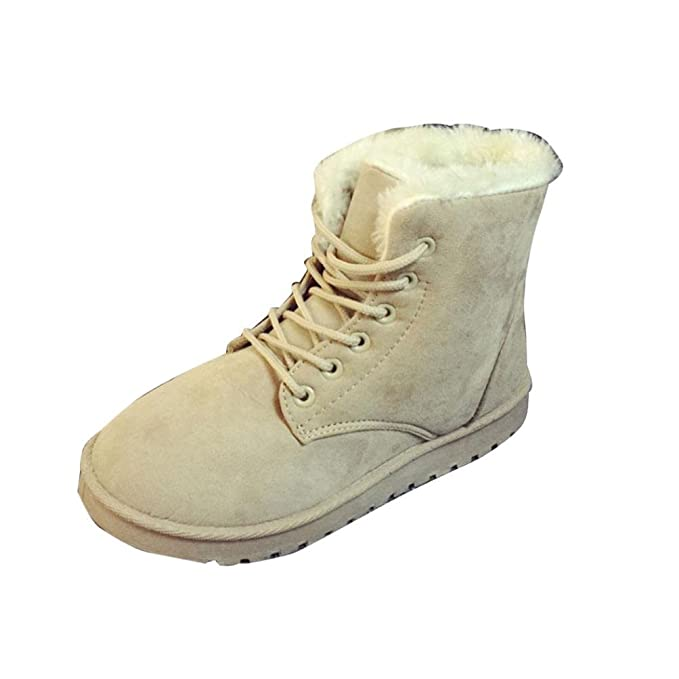Women Flat Lace Up Fur Lined Winter Martin Boots Snow Ankle Boots Shoes (US 6.5 Khaki)