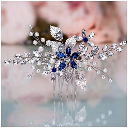 Olbye Wedding Hair Comb Blue Rhinestone Bridal Hair Accessories for Bride and Bridesmaids Wedding Hair Piece Silver -