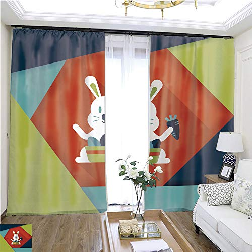 Air Port Screen Easter Bunny Flat icon with Long Shadow eps11119 W96 x L132 Provide Heat Highprecision Curtains for bedrooms Living Rooms Kitchens etc.