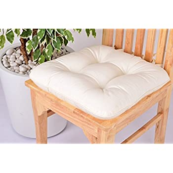 Lushness_Linen Presents 100% Cotton Chair Pad, Color Butter Cream