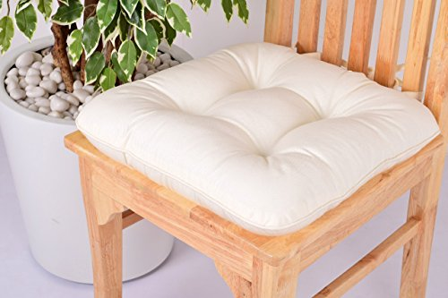 (Lushness_Linen Presents 100% Cotton Chair Pad, Color Cream)
