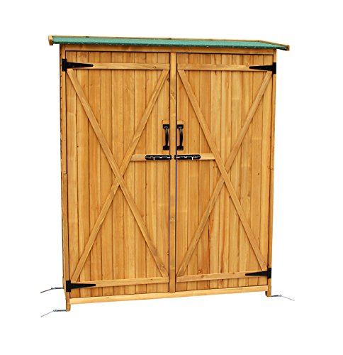 Mcombo Outdoor Wooden Storage Shed Utility Tools Organizer Garden Lawn w/ Lockable Double Doors 1400