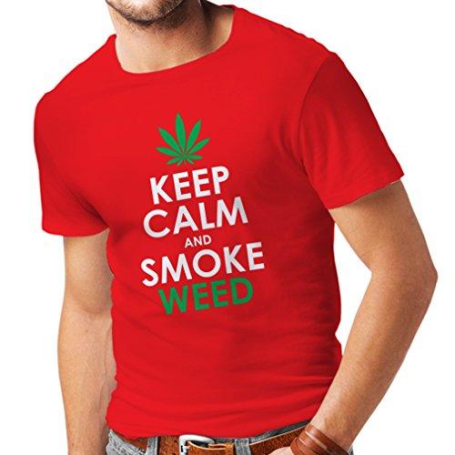 T Shirts for Men Keep Calm and Smoke - Marijuana Leaf Weed Smoker (XX-Large Red White)