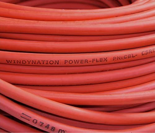 Inverter Welding Battery Pure Copper Flexible Cable Wire RV Car 5 Feet Red 10 Feet Total 2 Gauge 2 AWG 5 Feet Black Solar by WindyNation
