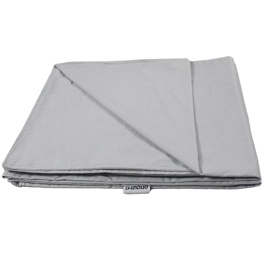 ZHENDUO Cotton Weighted Sensory Blanket, 15 lbs Cozy Blanket, Fall Asleep Faster and Sleep Better (cover 48''x72'')