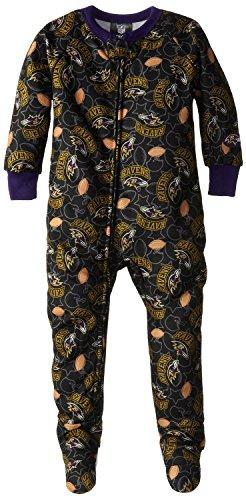 NFL Baltimore Ravens Baby Boy's Blanket Sleeper Pajamas - Black (6 Months)