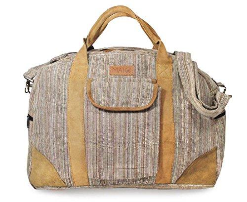 Mato Hemp Duffel Bag Travel Overnight Weekender Luggage Carry On Handbag Brown Suede Leather