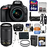 Nikon D5600 Wi-Fi Digital SLR Camera & 18-55mm VR DX AF-P + 70-300mm VR AF-P Lens + 64GB Card + Case + Battery & Charger + Grip + Tripod + Kit