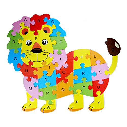 Queena Wooden Building Jigsaw Puzzle 26 English Alphanumeric Numbers Children Educational Blocks Toys Preschool Educational Toy - Jigsaw Teddy