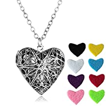 HOUSWEETY Aromatherapy Essential Oil Diffuser Necklace Flowers Heart Locket Pendant 8 Refill Pads