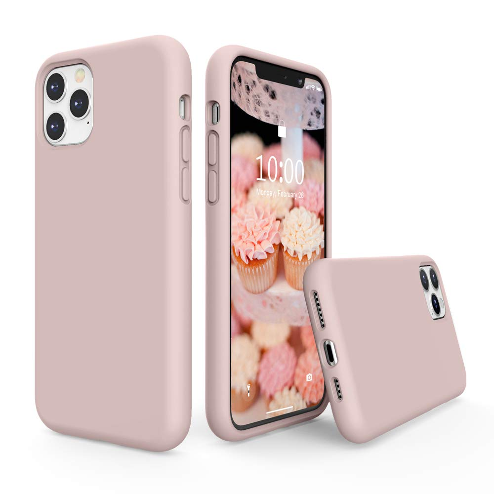 SURPHY Silicone Case Compatible with iPhone 11 Pro Max Case 6 5 inch  Liquid Silicone Full Body Thickening Design Phone Case  with Microfiber Lining  for iPhone 11 Pro Max 6 5 2019  Pink