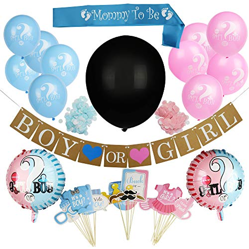 This Way That Way & Co. Baby Gender Reveal Party Supplies with Photo Props Pack of 64, Gender Reveal Decorations with Latex Balloons, Boy or Girl Banner, Mommy To Be Sash, Pink and Blue Confetti, Foil Balloons