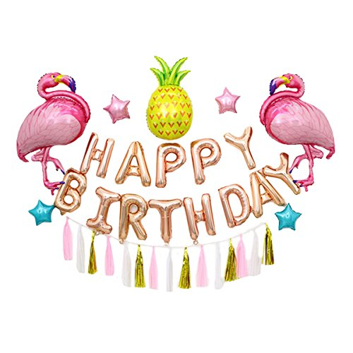 (DREAMER Happy Birthday Balloons Set with Hanging Tassels, 36PCS Giant Flamingo Pineapple Shape Balloon Bithday Banner Party)