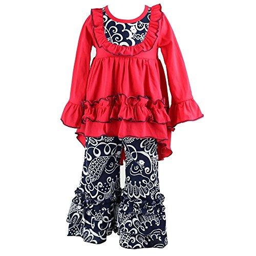 Kids Online Boutiques (Wennikids Girls Clothes Outfit Kids Ruffle Shirts Dress Boutique Bell Pants Set Large)