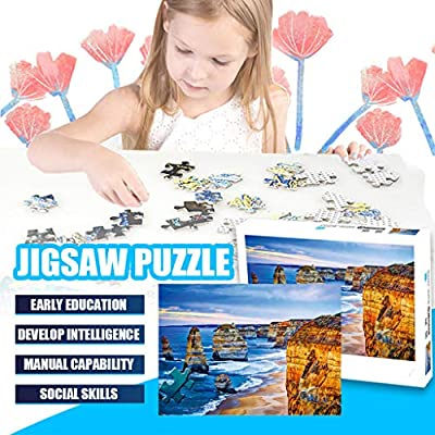 500 Large Piece Jigsaw Puzzle for Adults - Perfect Dawn, Sunrise by The Ocean - Unique Cut Interlocking Pieces Game Interesting Toys 19.7x15.7 Inch: Toys & Games