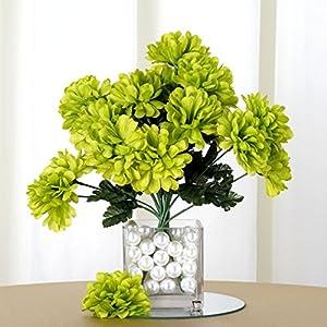 Tableclothsfactory 84 Chrysanthemum Mums Balls Artificial Wedding Flowers - Lime Green 12