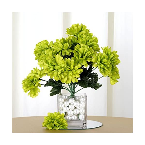 Tableclothsfactory 84 Chrysanthemum Mums Balls Artificial Wedding Flowers – Lime Green