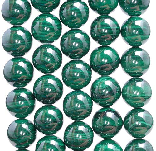 12mm Natural Malachite Gemstone AAA Genuine Green Round Loose Beads 15.5 inch Full Strand, Beading, Jewelry Making, DIY Crafting, Arts & Sewing by Beads