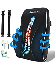 Lumbar Support Pillow for Office Chair and Car Seat Back Support Memory Foam Back Cushion for Lower Back Pain Relief, Lower Back pillow for Gaming Chair, Desk Chair with 3D Mesh Cover Adjustable Strap