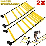 FITNESS MANIAC Speed & Agility Training Kits Ladder Soccer Sport Lacrosse Training Tools Carry Bag Fitness Feet 15ft Footwork Exercise Equipment Workout PAIR