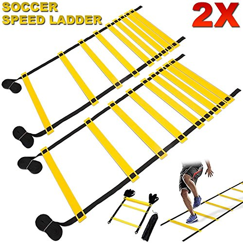 FITNESS MANIAC Speed & Agility Training Kits Ladder Soccer Sport Lacrosse Training Tools Carry Bag Fitness Feet 15ft Footwork Exercise Equipment Workout PAIR by FITNESS MANIAC