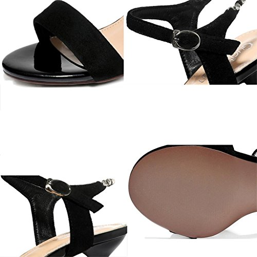 Female Thin Heels Upper Summer Frosted Shoes Black Mid Heel Sandals Toe Open Heel High Bpq4EHwwx