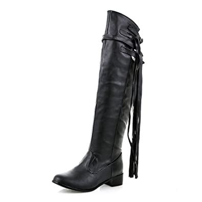 90ee658c444d Btrada Women's Over The Knee Thigh High Boots Tendy Wide Calf Block Heel  Tassel Belt Buckle