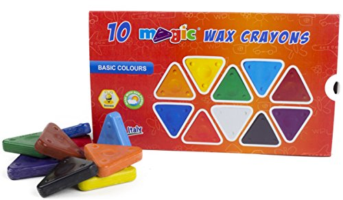 MAGIC Triangular Wax Crayons, 10 Main Colors, Ergonomic Shape, Non-Toxic, Extra Durable, Incredibly Fast Drawing