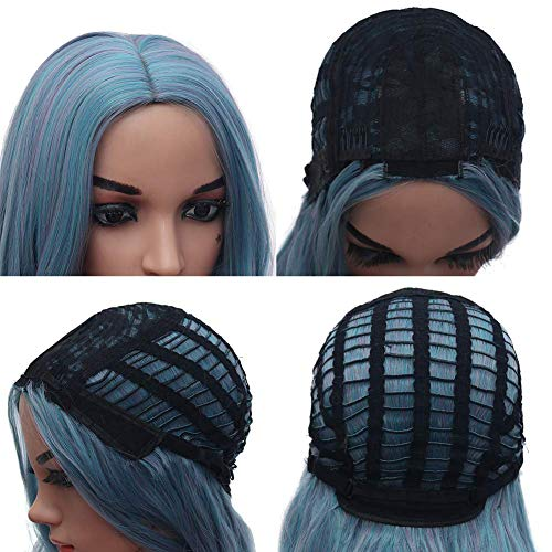 Colorful Wigs Blue Long 29.5 inches Multi Color Synthetic Heat Resistant Fiber Natural Loose Long Wigs for Women and Girl (A)