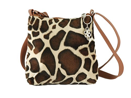 Loni Womens Trendy Animal Print Faux Fur Shoulder Bag/Cross-Body Bag in Giraffe -