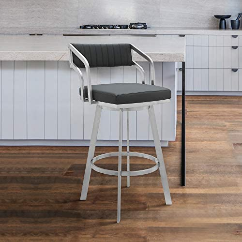 Capri Swivel Modern Metal and Slate Grey Faux Leather Bar and Counter Stool