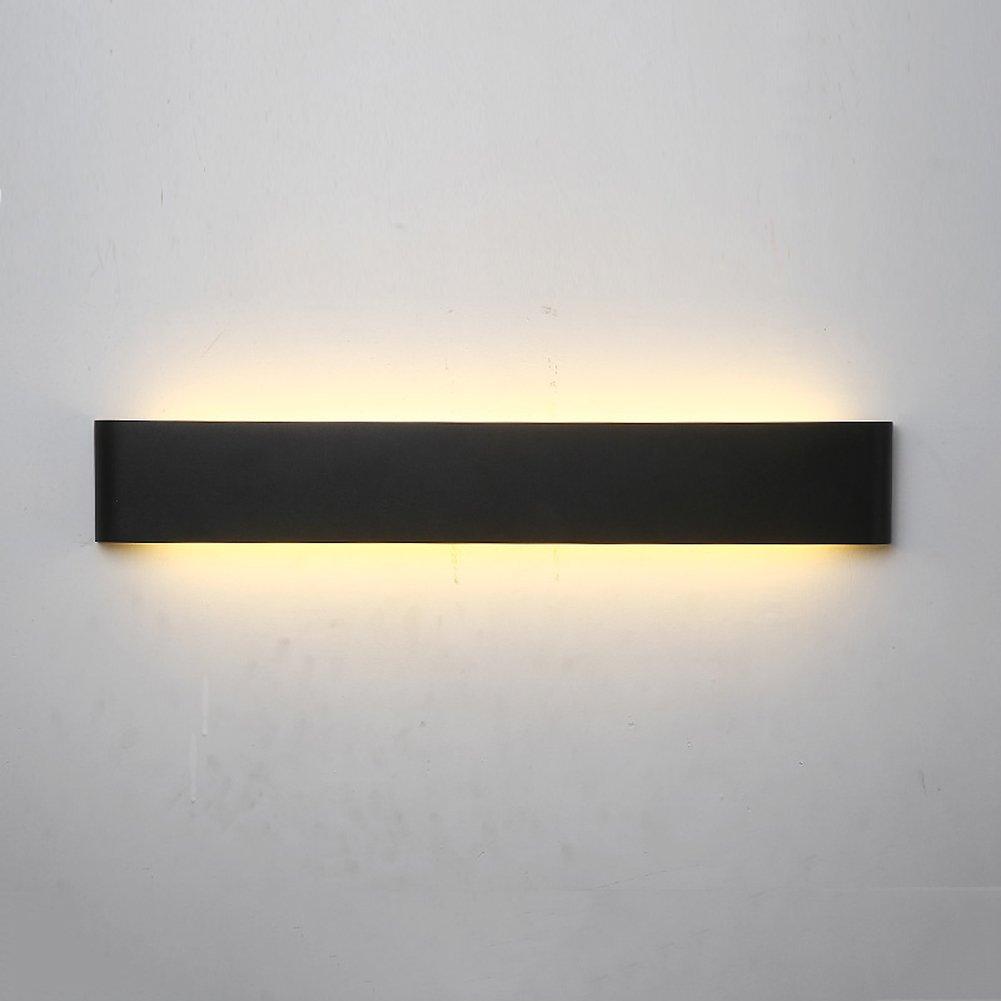 Wandleuchte Schlafzimmer Nachttisch Leselampe modernes Metall Matte Oberfläche drei Farben 30cm 60cm 90cm (Farbe   schwarz soft-60cm)