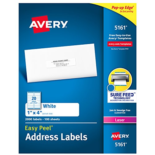 Laser White Mailing Labels - Avery Address Labels with Sure Feed for Laser Printers, 1