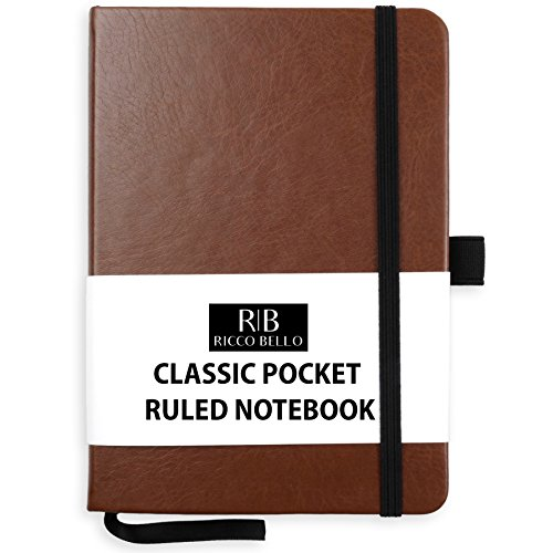 RICCO BELLO Classic Pocket Ruled Notebook 4.25 x 6 inches (Brown)