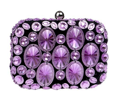 de Violet main dembrayage à Sac Dîner Strass soirée Femmes Luckywe cristal de concepteur wqIT7nvXSx