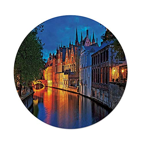 (Polyester Round Tablecloth,Medieval Decor,Night Shot of Historic Middle Age Building along the River in Bruges Heritage Old Town Photo,Multi,Dining Room Kitchen Picnic Table Cloth Cover,for Outdoor I)