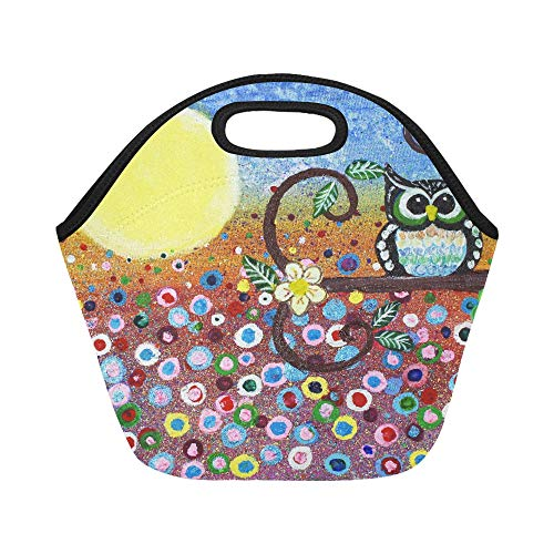 Insulated Neoprene Lunch Bag Abstract Owl In Forest Oil Painting Halloween Moon Large Size Reusable Thermal Thick Lunch Tote Bags For Lunch Boxes For Outdoors,work, Office, School ()