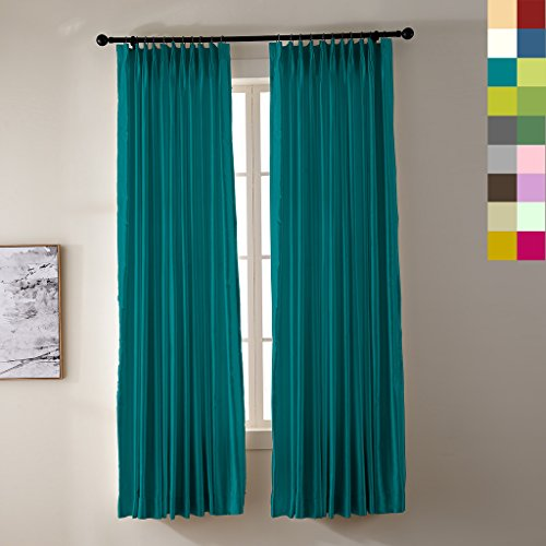 """Pinch Pleated 100"""" W x 84"""" L (1 Panel) Luxury Heavyweight Faux Silk White Blackout Lined Window Draperies Curtains For Traverse Rod and Track, TURQUOISE"""