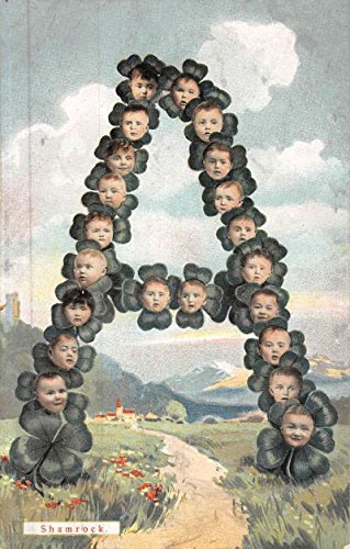 - Alphabet A Multiple Baby Face Shamrock Flower Fantasy Antique Postcard K49217