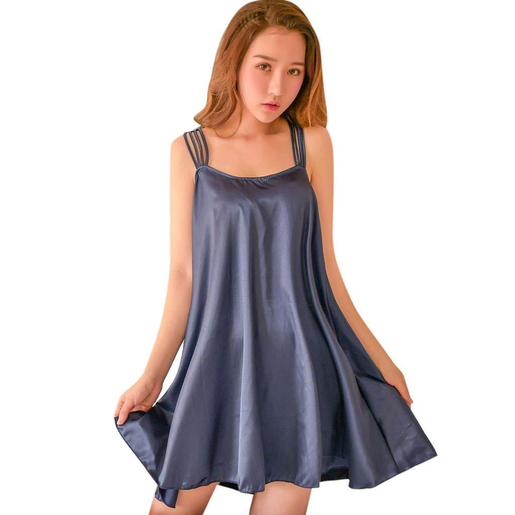 Aurorax Underwear Women's Plus Size Night Dress Lingerie Solid Stain Sling Soft Babydoll Elegant Queen Nightwear Mini Dresses [Free Size] (Navy)