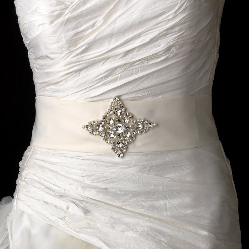 Beautiful Rhinestone & Pearl Wedding Bridal Sash Belt - White by Fairytale Bridal Accessories