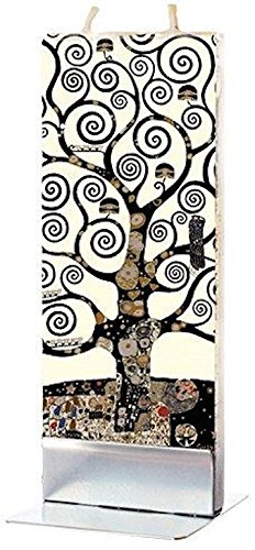 Flatyz Art Series Twin Wick Unscented Thin Flat Candle - Gustav Klimt ,Tree of Life Detail