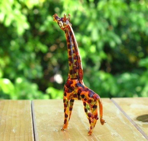 Handmade Giraffe Art Glass Blown Wild Animal Figurine No.2