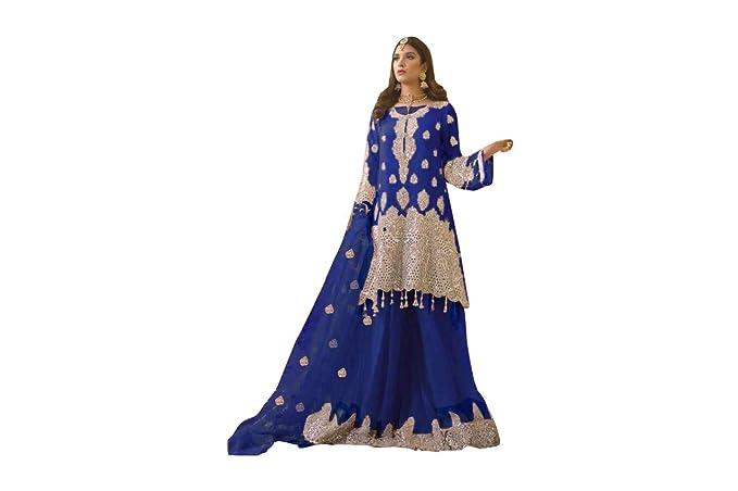Blue Designer Kameez Skirt Suit Nuevo diseñadortraje Falda Bordado ...